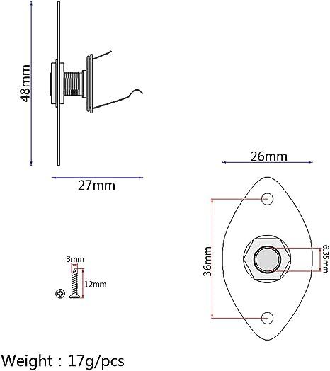 Chrome 1//4 Oval Flat Guitar Output Jack Plate Socket for Cigar Box Electric Guitar