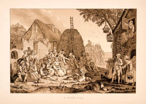 [1876 Chromolithograph Peasants Farmyard Haystack Costume 18th Century Meal Art - Original] (Group Office Costumes)
