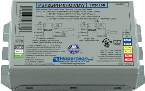 ROBERTSON 3P20166 PSP2GPH40HOIVDWM Electronic Ballast for 2/1 GPH212T5HO thru TUV75WHO UV Lamps, Program Start, 100-277Vac, 50-60Hz, HPF ()