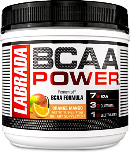 LABRADA NUTRITION - BCAA Power Powder, Fermented Amino Acids with Glutamine & Electrolytes, Muscle Building Post Workout Supplement, Orange Mango, 30sv