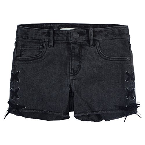 Levi's Girls' Denim Shorty Shorts, Washed Black, 12 (Denim Girls Washed)