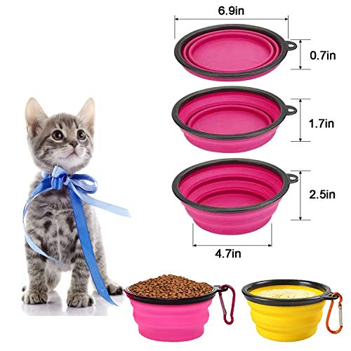 Homesun Collapsible Dog Bowl, 2 Pack Large Size Collapsible Dog Water Bowls for Cats Dogs, Portable Pet Feeding Watering Dish for Walking Parking Traveling with Yellow + Pink Free Carabiner
