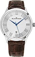 Alexander Statesman Triumph Wrist Watch For Men - Brown Leather Stainless Steel Analog Swiss Watch - Silver White Dial Date Mens Designer Watch A103-06