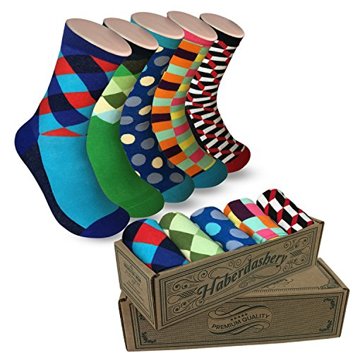 Modern Motif Men's Power Socks, 5 Pairs Per Sock Gift Box, Funky Men's Crew Socks, Colorful Patterned Socks for Men, Ideal Coworker, Dad, Boss, and College Graduation Gift, SockGame Collection -