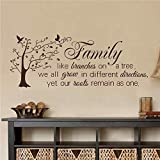 """BATTOO Family Wall Decal Quotes- Family Like Branches On A Tree- Inspirational Quote Wall Decals Murals Vinyl Lettering Wall Art Sticker(Dark Brown, 13.5""""h x34""""w)"""