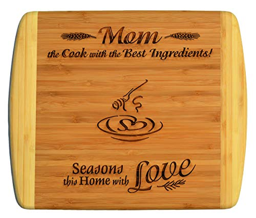 (MOM / MOTHER GIFT ~ Engraved 2-Tone Bamboo Cutting Board w/ Free Stand ~ 2-Sided Design ~ Engraved Side Designed For Décor ~ Reverse Side For Usage ~ Mom Birthday Mothers day Gift Christmas Gift)