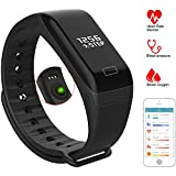 Fitness Tracker Watch Activity Tracker with Heart Rate Monitor, Pedometer, Calorie, Health Tracker with Blood Pressure, Oxygen, Bluetooth Smart Bracelet Band for Android / IOS, IP67 Waterproof, Black