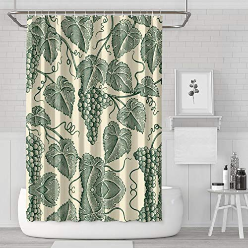 """Yiastia_Minyi Cool Grape Leaves Pattern Bathroom Shower Curtain for Bathtub Showers Heavy Weighted and Waterproof Bathroom Accessories with Hooks 71"""" X 71"""""""