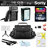 16GB Accessories Bundle Kit For Sony Alpha a6000, a6300, a6500, a5100, a5000 Interchangeable Lens DSLR Camera Includes 16GB High Speed SD Memory Card + Replacement NP-FW50 Battery + Charger + Case ++