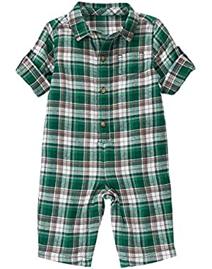 Baby Boy Pine Green Plaid Flannel One-Piece