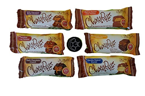ChocoRite Chocolate Candies 6-Flavor Variety Pack, plus free magnet. Low Carb Candy Bars, 100 Calories, No Sugar ()