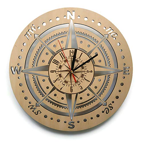 ShareArt Compass Silent Wood Wall Clock - Original Home Office Living Room Bedroom Kitchen Decor - Best Birthday Gift for Friends Business Partners Woman - Unique Wall Art Design - Size 12 Inch