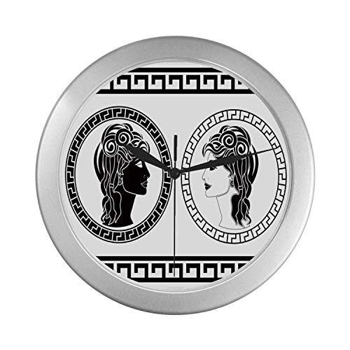C COABALLA Toga Party Simple Silver Color Wall Clock,Roman Aristocrat Woman Profiles Circular Classical Frames Hairstyle Beauty for Home Office,9.65
