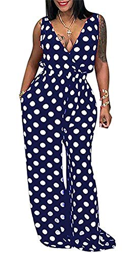 LKOUS Women Summer Sexy Spaghetti Strap Sleeveless Polka Dot Print One Piece Loose Wide Leg Pants Jumpsuits Plus Size Blue