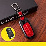New Red Genuine Leather Buttons Paint Plastic Remote Smart 5 Buttons Key Case Cover Skin Holder for Dodge Chrysler 300 Challenger Dodge Charger Dart Durango Journey Jeep Grand Cherokee Fob