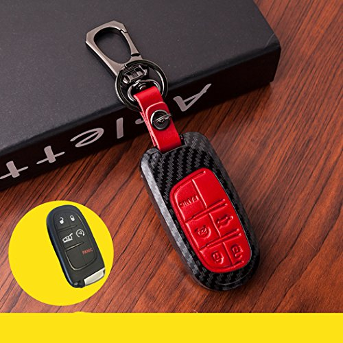 New Red Genuine Leather Buttons Paint Plastic Remote Smart 5 Buttons Key Case Cover Skin Holder for Dodge Chrysler 300 Challenger Dodge Charger Dart Durango Journey Jeep Grand Cherokee Fob ()