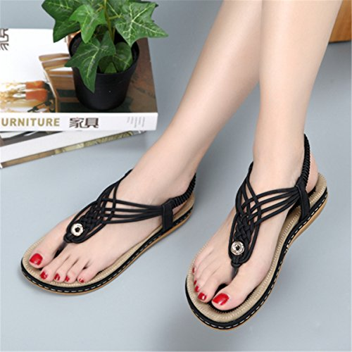 Toe Beach Shoes Open Flip Clip T Boho Strap Flat Summer Toe On Women Slip Elastic Socofy Sandals Flop Black HZqxTn