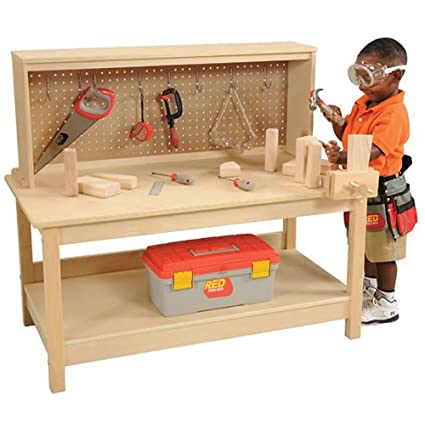 amazon com wooden workbench with vise toys games