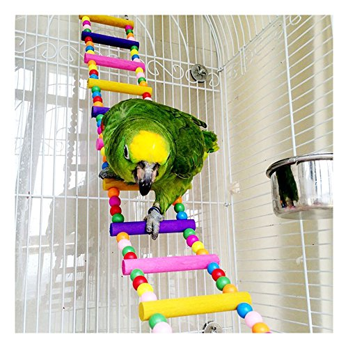 Saymequeen 31-80cm Multi-color Parrots Ladder Bridge Pet Bird Trainning Swings Wood Budgie Toys Climbing Ladder Hanging Toy Hammock (12 Ladders(L:80cm/31.4'')) by Pet-Saymequeen (Image #1)