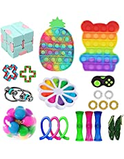 23 Pack Fidget Toys Set, Sensory Fidget Toys Pack Stress Relief and Anti-Anxiety Tools, Pop-it Dimple Figet Toys for Kids and Adults with Colorful Pineapple Push Bubble