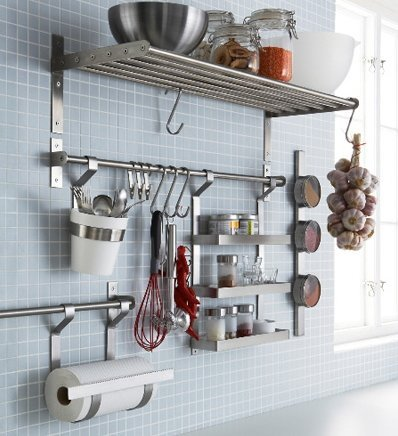Ikea Stainless Steel Kitchen Organizer Set, 15.75 Inch Rail, 5 Hooks, Silver