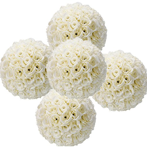 (5 Pack 9.84 Inch Satin Flower Ball + Rose Petals for Bridal Wedding Artificial Wedding Party Ceremony Decoration)