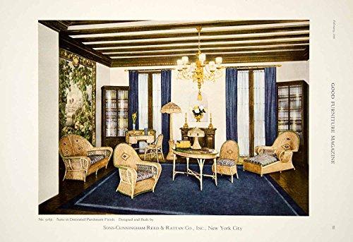 1920 Ad Vintage Sons-Cunningham Reed & Rattan Wicker Furniture Suite Chairs GF5 - Original Print Ad (Rattan Originals)
