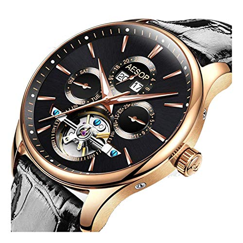 on Wrist Watches Black OR Brown Leather Mens Tourbillon Mechanical Sports Watches (Black) ()