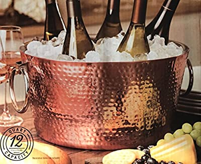 Hammered Copper Plated Beverage Tub Double Walled 12 Quart