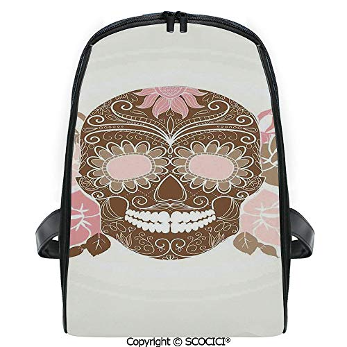 SCOCICI Students Cute Printed Bookbag Skull and Roses Dead Man in Colors Vintage Style Spooky Graphic Art Print with Funny Personalized Graphics