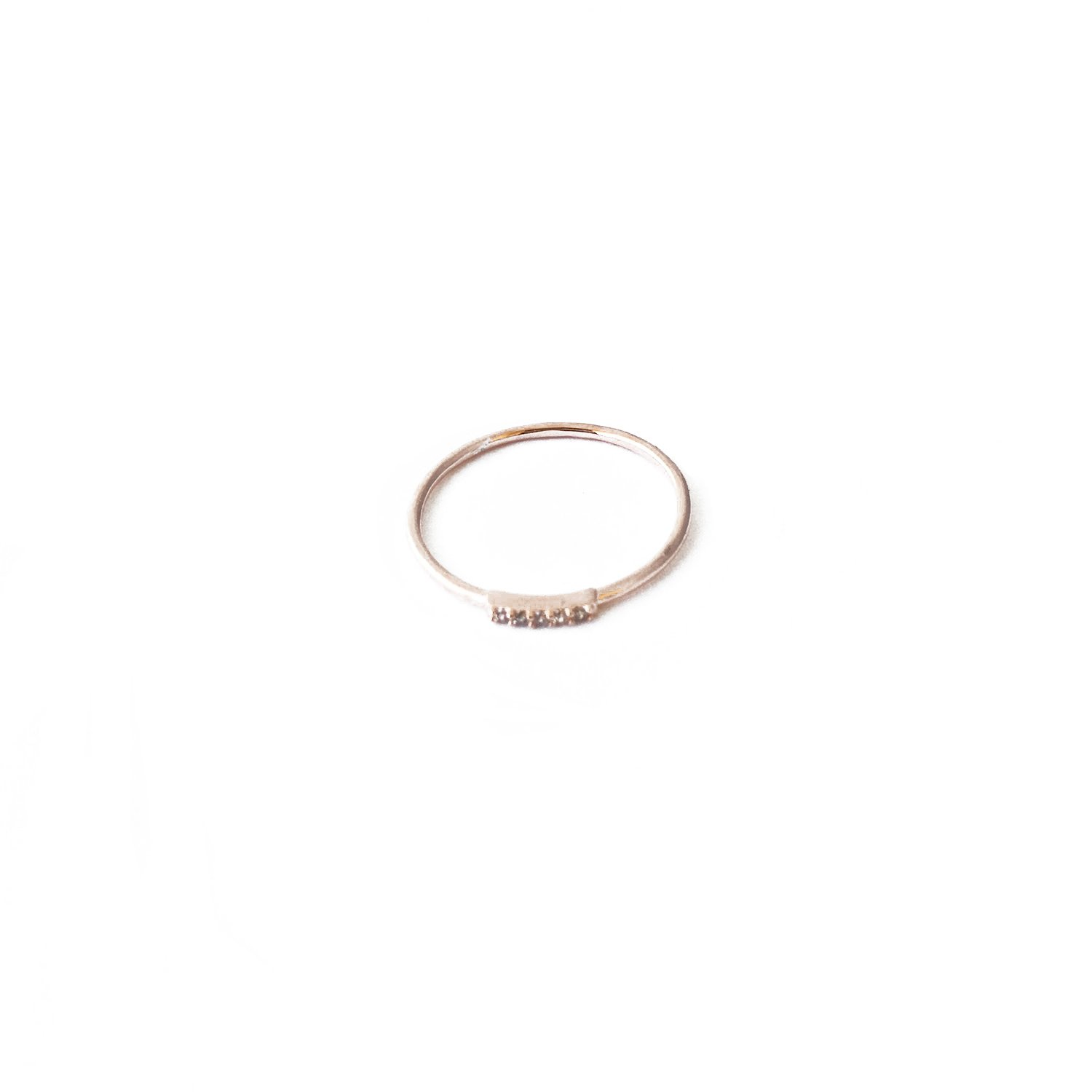 HONEYCAT Mini Crystal Row Ring in 18k Rose Gold Plate | Minimalist, Delicate Jewelry (Rose Gold 8)