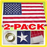 G128 – American USA US Flag Embroidered Stars 3X5 ft – Set of 2 Flags