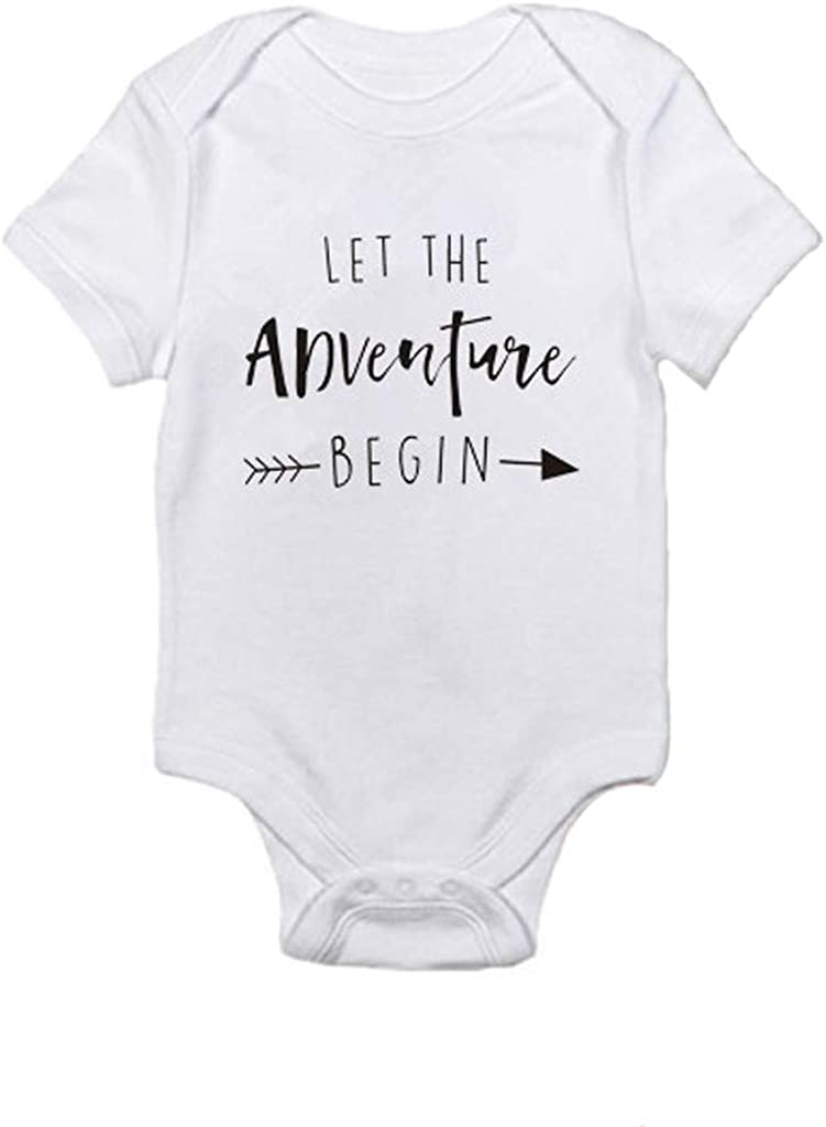 Hshi LET The Adventure Begin Letter Print Vest Baby Bodysuit Baby Playsuit 0-24 Months Jumpsuit Clothes Baby Gift
