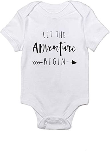 LNGRY Baby Romper,Toddler Newborn Kids Girls Boys Let The Adventure Begin Letters Printed Romper Playsuit Clothing