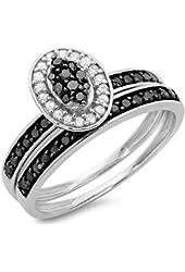 0.50 Carat (ctw) 10K White Gold Round Black & White Diamond Bridal Promise Engagement Ring Set 1/2 CT