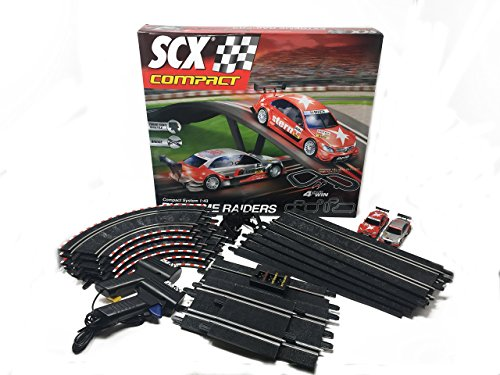 SCX Extreme Raiders 1:43 Scale Slot Car Set With AC Adaptor and 2 (Compact Track)