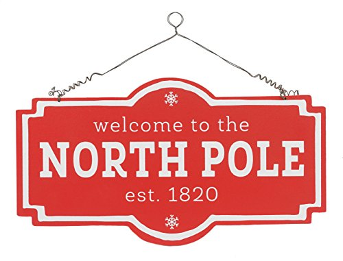 Welcome to the North Pole Hanging Christmas Wall Sign