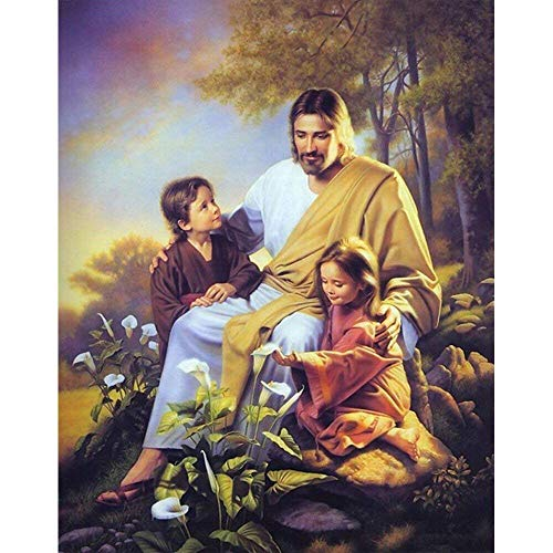 - Full Drill Diamond Painting Jesus Christ with Child by Number Kits, 5D DIY Diamond Embroidery Crystal Rhinestone Cross Stitch Mosaic Paintings Arts Craft for Home Wall Decor(12X16inch/30X40CM)