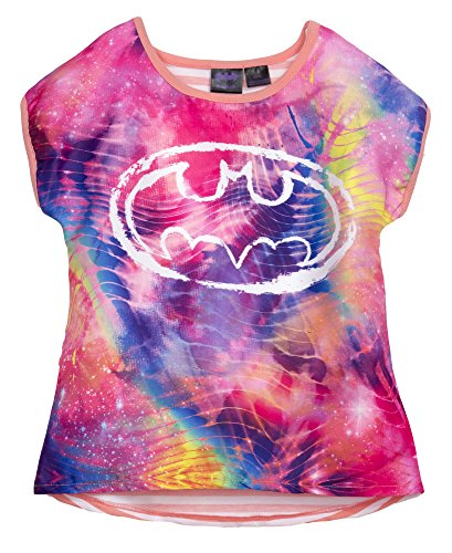 [(612093BXM) Batman Girls Fashion Tee Shirt in Tye Die Size: 4/5] (Batman Outfit Baby)