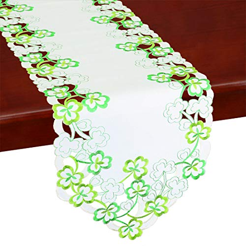 Shamrock Table Runner - Simhomsen Irish Clover Table Runners, Embroidered Shamrock Table Linen for St. Patrick's Day and Spring 13 × 70 Inch