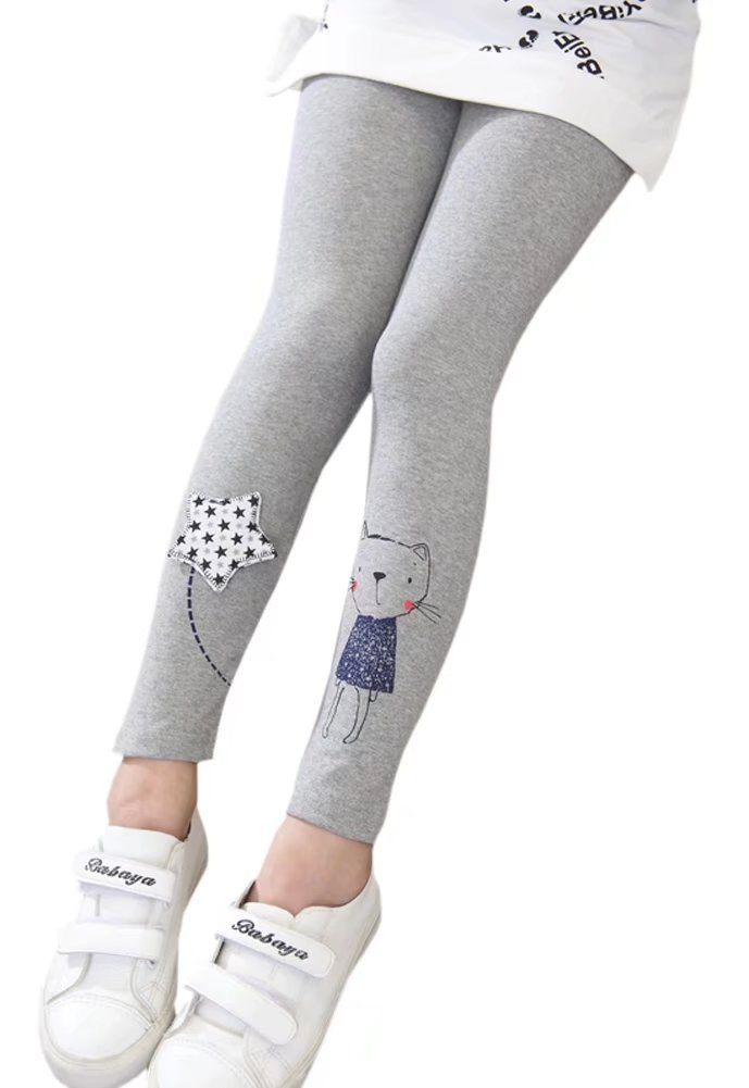 Cartoon Cat & Kite Fleece Lined Warm Up Thermal Leggings Pants for Little Toddler Girl and Big Girls Grey, 5-6 Years , Tag size 130