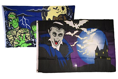 ALBATROS 3 ft x 5 ft Happy Halloween 2 Pack Flag Set Combo #10 Banner Grommets for Home and Parades, Official Party, All Weather Indoors Outdoors ()
