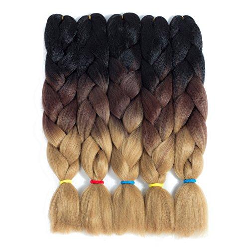 LOSMOEER 24Inch Ombre Jumbo Braiding Crochet Hair Box Braid 5Pcs/Lot Jumbo Braiding Hair Kanekalon Synthetic for Senegalese Twists Hair Extension (3 Tone Black-Chocolate-Linen) -