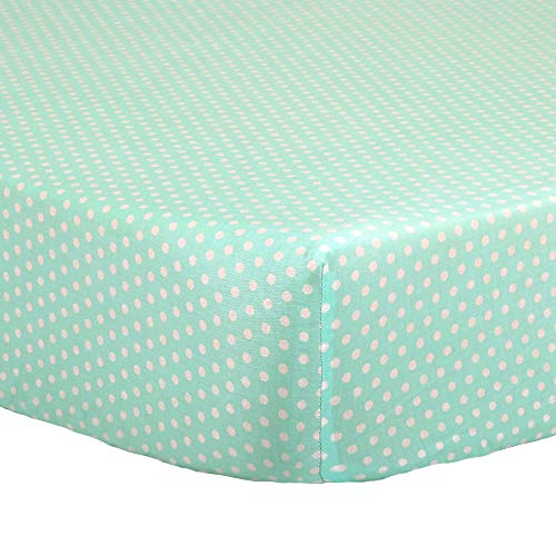 Mint Green Confetti Dot Print Fitted Crib Sheet - 100% Cotton Baby Girl and Boy Geometric Polka Dot Designs Nursery and Toddler Bedding
