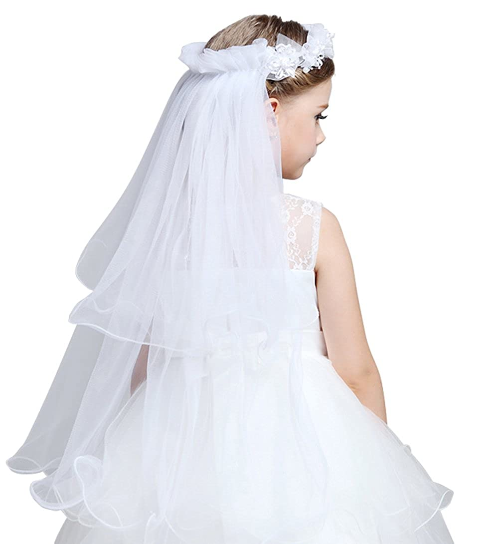 Ethel Girl's Two Layer First Communion Veil With Wreath