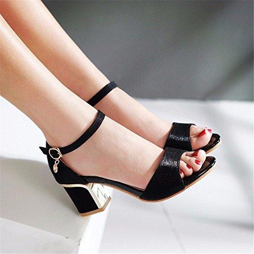 la de una mujer verano los grandes astilleros Zapatos cifra de mujer Tacones sandalias normal black altos PId4qxw