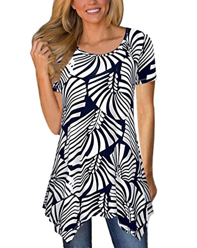 MEROKEETY Women's Short Sleeve Floral Print Irregular Hem Tunic Tops Casual Loose Fit - Shirt Trip Floral Day