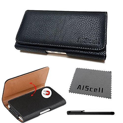 Huawei Ascend Mate 2 / Mate 9 / Ascend XT~ Sideways Premium Black Leather Case Carrying Pouch Belt Clip Holster+AIScell Cleaning Cloth+Stylus Pen