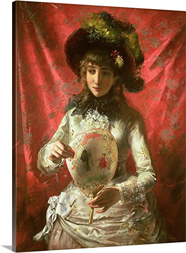 Otto Hessler Premium Thick-Wrap Canvas Wall Art Print entitled Girl with a Fan (Victorian Woman Portrait)