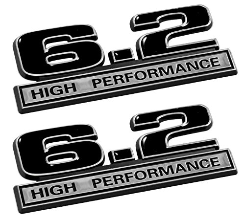 6.2 Liter High Performance Emblems in Black and Chrome - Pair